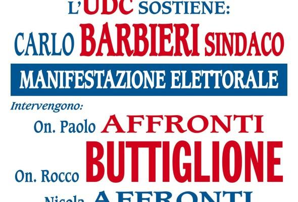 On. ROCCO BUTTIGLIONE a Voghera il 26/01 per Carlo BARBIERI Sindaco