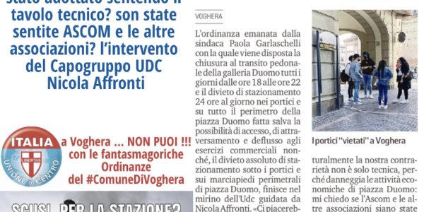 Nicola Affronti (capogruppo UDC) interviene sull'inutile ordinanza emessa dal Sindaco su Piazza Duomo